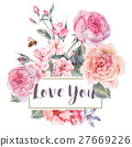 Vector spring vintage floral greeting card with 27669226