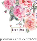 Vector spring vintage floral greeting card with 27669229