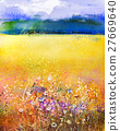 Abstract watercolor painting purple cosmos flower 27669640