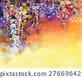Abstract floral watercolor painting 27669642