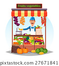 Market counter or stand with fruits and vegetables 27671841