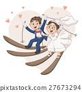 Cartoon bride and groom 27673294