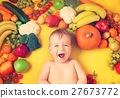 Baby surrounded with fruits and vegetables 27673772