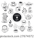 Doodle teapots and cups 27674072