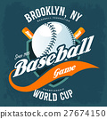Bats behind baseball ball on shield t-shirt logo 27674150