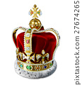 Royal gold crown, with many jewels and decorations 27674265