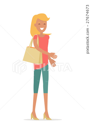 Beautiful Happy Woman Flat Vector Illustration 27674673
