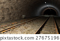 Old rail train tunnel with double track. 27675196