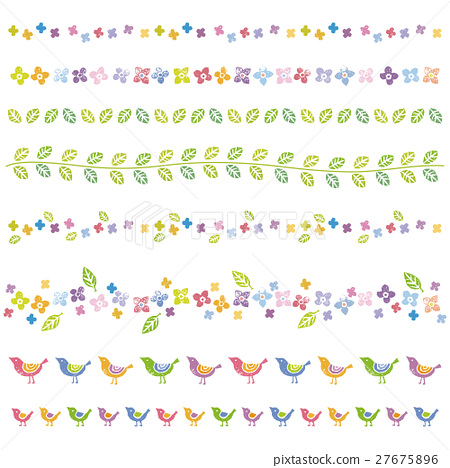 Flower and leaves, bird ruled line design material 27675896