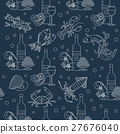 Marine life seamless vector pattern. 27676040
