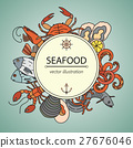 Seafood vector card with symbols of various 27676046