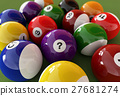 Group of billiard balls with numbers. (Pool). 27681274