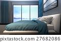 Luxury master bedroom seaview / 3D Rendering 27682086