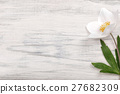 White flower on wooden background. 27682309