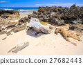 山石的 海滩 海岸 27682443