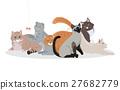 Cat Breeds Cute Pet Animal Set Vector Web Banner. 27682779