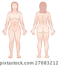 Female Body Front View Back View 27683212