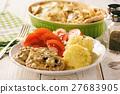 Grilled pork tenderloin with bechamel sauce. 27683905