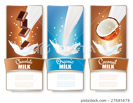 Set of three labels of chocolate and coconut 27685678