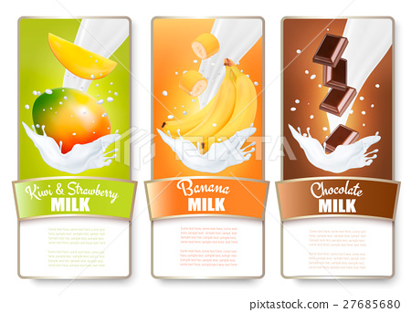 Set of three labels of fruit in milk splashes 27685680