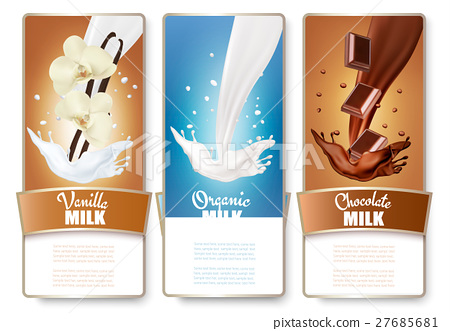 Set of three labels of milk, chocolate and vanilla 27685681