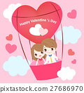 couple with hot air balloon 27686970