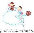 농구를하는 웨딩 모습의 커플 27687074