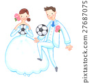 축구를하는 웨딩 모습의 커플 27687075