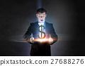 Businessman demonstrating magic 27688276