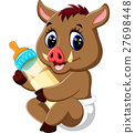 cute baby Wild boar cartoon 27698448