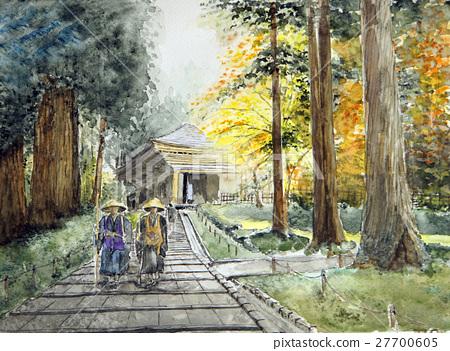 World Heritage Hiraizumi Chusonji Sketch Buddha Kazue Shosha Native Hometown Furusato Retro Autumn Leaves 27700605