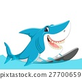 cute shark surfing cartoon 27700659