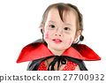 Asian girl with halloween costume on white. 27700932