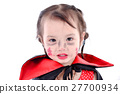 Asian girl with halloween costume on white. 27700934