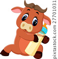 illustration of cute baby bull cartoon 27701031