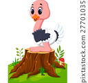 Cartoon happy ostrich sitting on tree stump 27701035