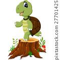 Cartoon turtle posing on tree stump 27701425