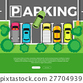 Parking Top View Vector Web Banner in Flat Design 27704939