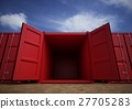 Red open cargo containers in the row 27705283