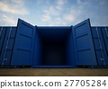 Blue open cargo containers in the row 27705284