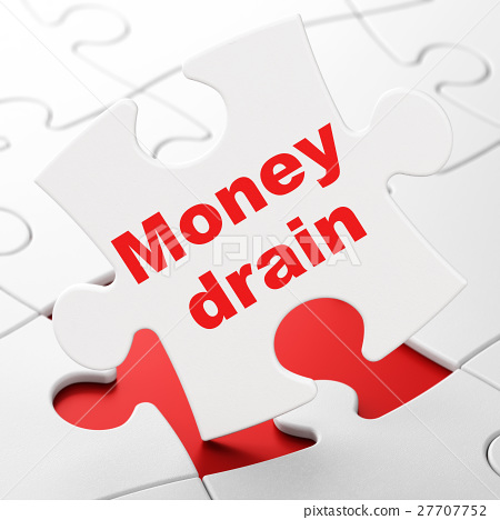 Banking concept: Money Drain on puzzle background 27707752