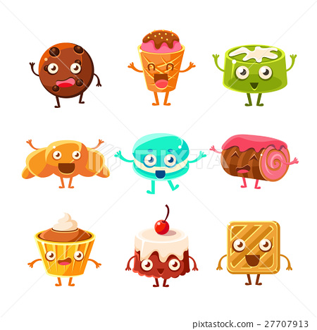 Sweet Dessert Pastry Childish Cartoon Characters 27707913