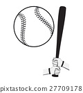 Hands holding baseball bat and big ball. 27709178