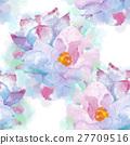 Hand painted watercolor imitation vector magnolia 27709516