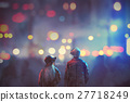 couple in love walking on street 27718249