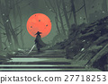 Samurai standing on stairway in night forest 27718253