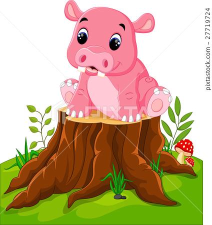 Cartoon cute baby hippo on tree stump 27719724