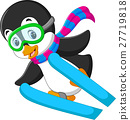 illustration of cute penguin skiing cartoon 27719818