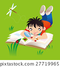 A boy doing his study of ladybug outdoor 27719965