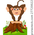 Cartoon illustration monkey playing in the forest 27720022